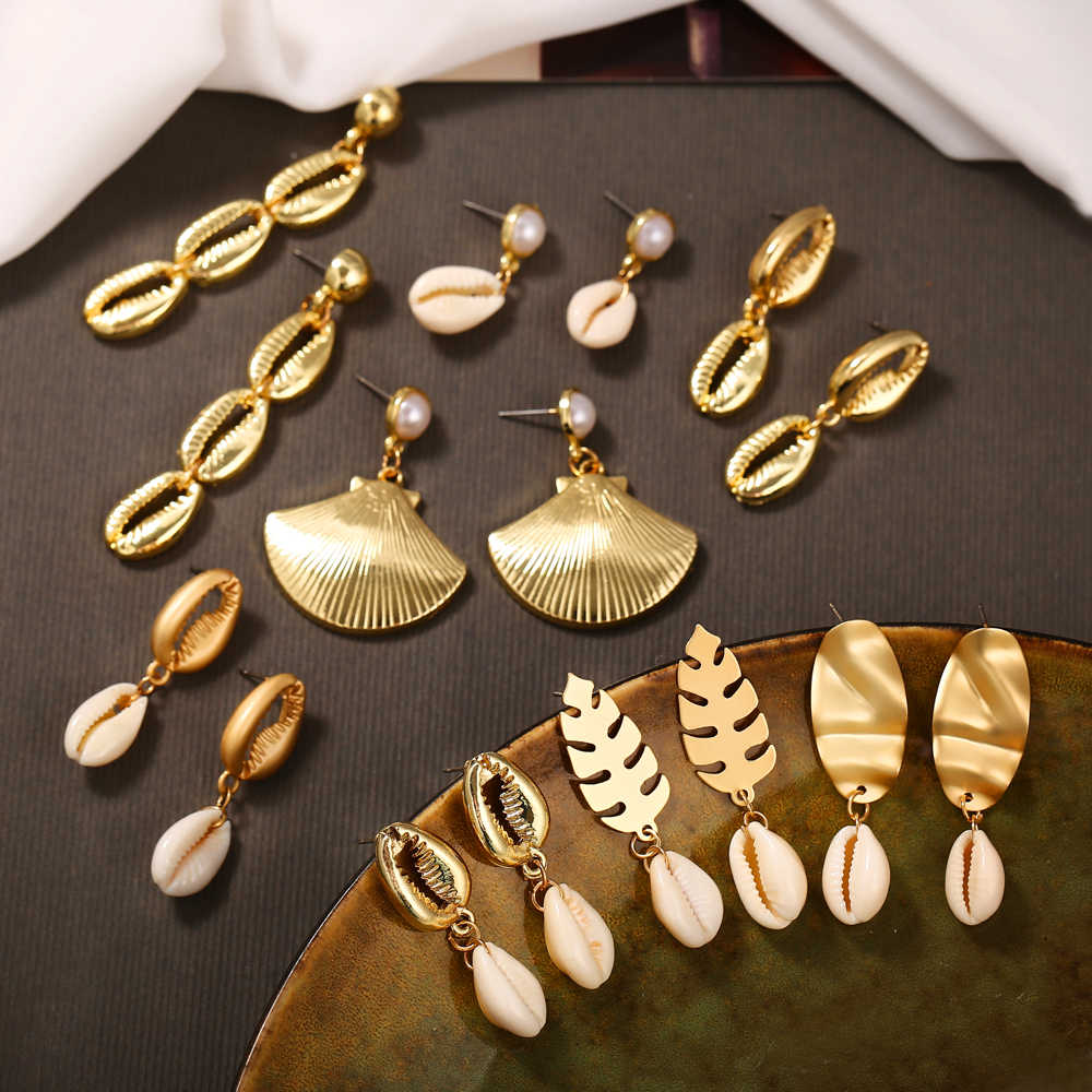 17KM Vintage Ocean Gold Dangle Drop Earrings 2019 For Women Brincos Cowrie Sea Shell Earring BOHO Bohemian Beach Korean Jewelry