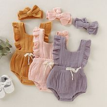 Summer Newborn Girls Rompers Set Flare Sleeve Solid Print Bowknot Design Jumpsuit with Headband(China)