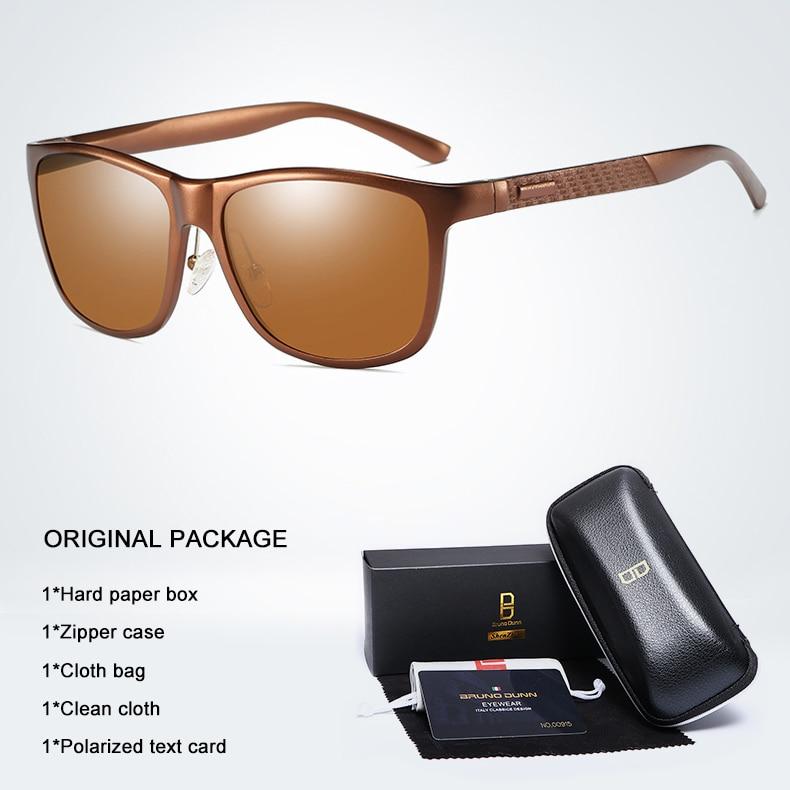 Bruno dunn Sunglasses Men Polarized 2020 Luxury Brand square metal frame male sun glasses oculos de sol masculino 2140 ray uv400 8