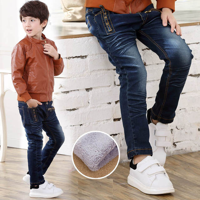 Fashion Winter Warm Boys Jeans Children Thicken Add Wool Denim Trousers Toddler Boys Clothes Teenager Washing Blue Jeans 3 10Yrs