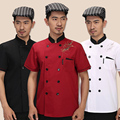 2017 Summer Short-sleeved Chef service Hotel working wear Restaurant work clothes Tooling uniform Chef Jackets 3 color