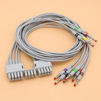 2pcs Holter ECG EKG 10 lead cable and electrode leadwire for MORTARA ELI 150C 230 250C 280 350 monitor,IEC 4.0 banana plug end