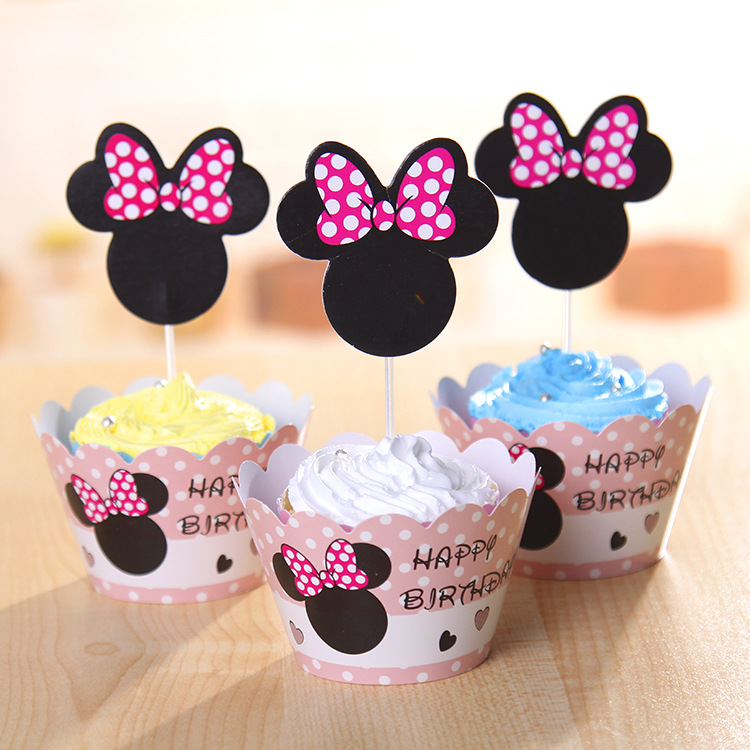Cupcake Wrappers Minnie Mouse Style Toppers Decorating Cup Cake 12+12 Party Kids