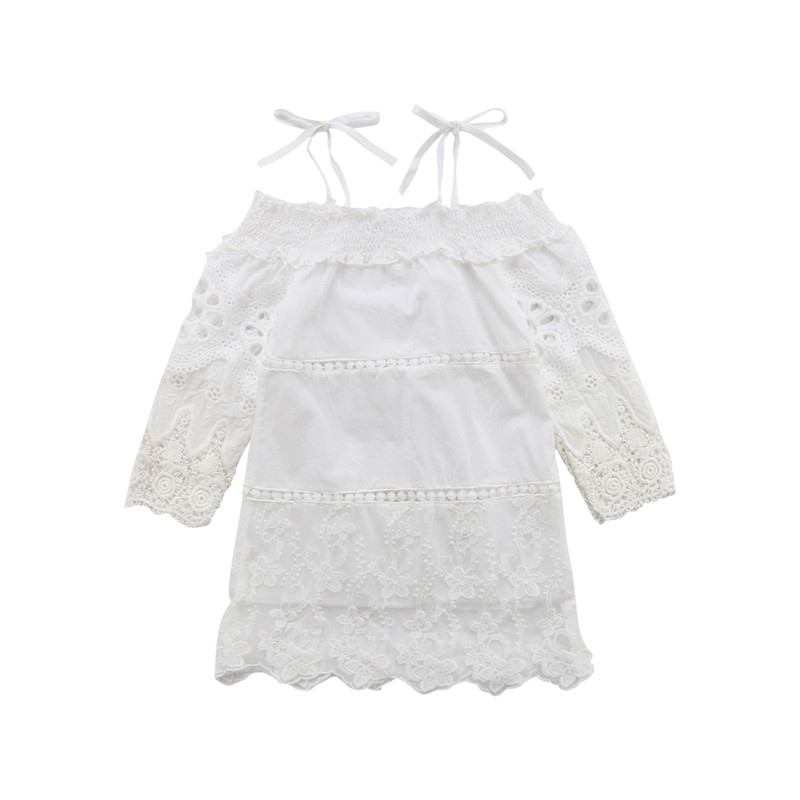 Good Pageant Flower Girl Dress Kids Lace Floral Wedding Bridesmaid Gown Formal Dresses Halter Long Sleeve Elegant Princess Clothes Fast Color Women's Bags