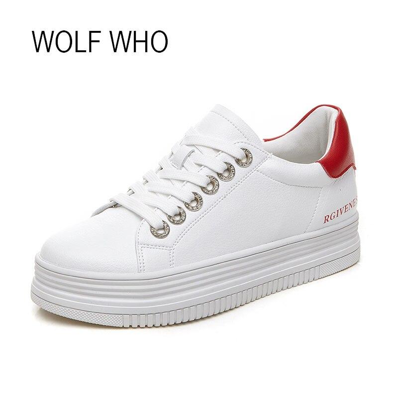 WOLF WHO 2018 Spring Women Platform Sneakers Ladies Fashion Flatform White Sneakers H-212