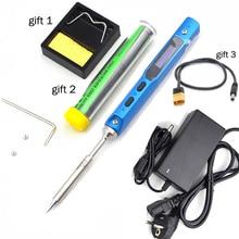 Ts100 portátil mini display lcd digital programável ferro de solda elétrica + ponta do ferro de solda 12 v dc adaptador de energia