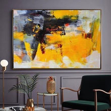 100% handmade bright color modern Canvas Painting  yellow and black Abstract oil painting Wall Art Office Bedroom wall picture