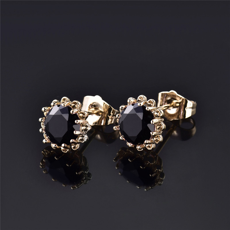 New 2017 Gold Color Stud Earring Cz Vintage Black Stones Crystal Earrings For Women Fashion Flower Jewelry E018b In From