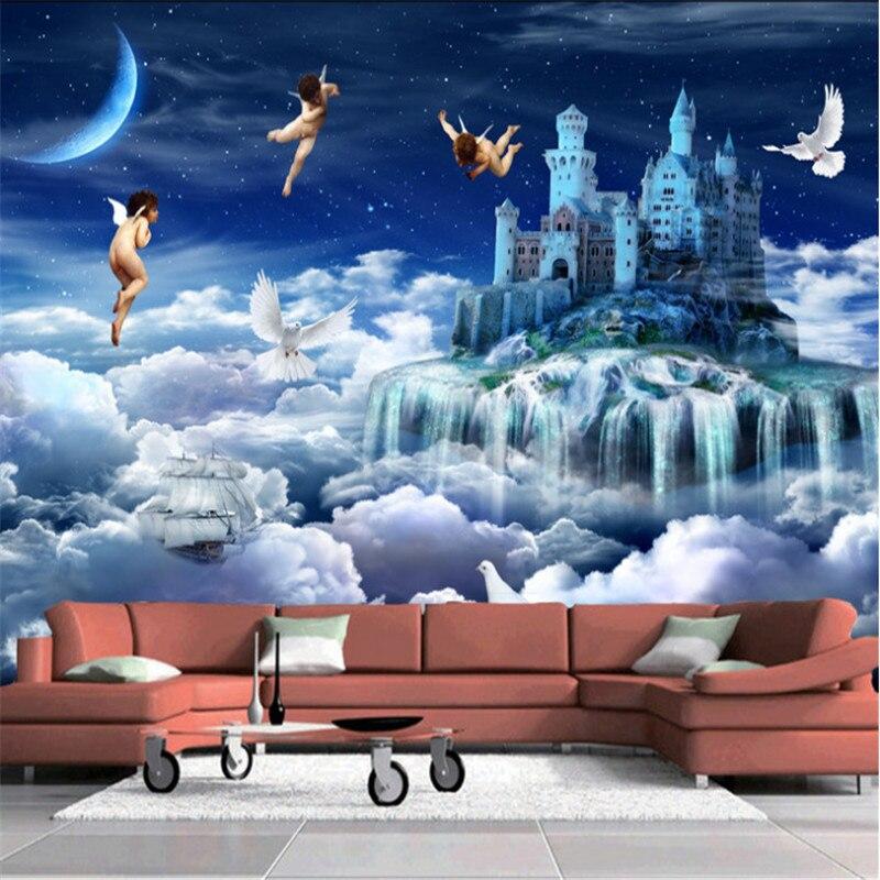 Пользовательские Современные 3d фото нетканые Настенные обои Фэнтези Замок Ангел Эгейский пейзаж ТВ фон стены для детской комнаты