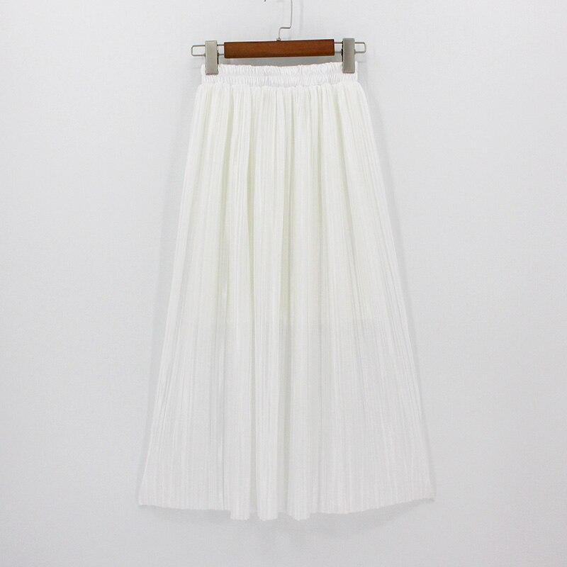 4afe38341e 2018 plisado Casual Maxi Falda larga falda de las mujeres Mid-calf playa  metálico alto