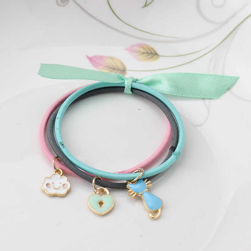 M MISM 1Set/3PCS Fashion Cute Children Elastic Hair Bands Hairwear For Girls Kids Animals Fruit Gum For Hair Jewelry Accessories