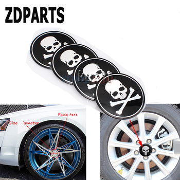 ZDPARTS 4X Car Skull Tire Wheel Center Hub Caps Cover Stickers For Skoda Octavia A5 A7 2 Rapid Fabia Yeti Superb Volvo V70 XC60 image