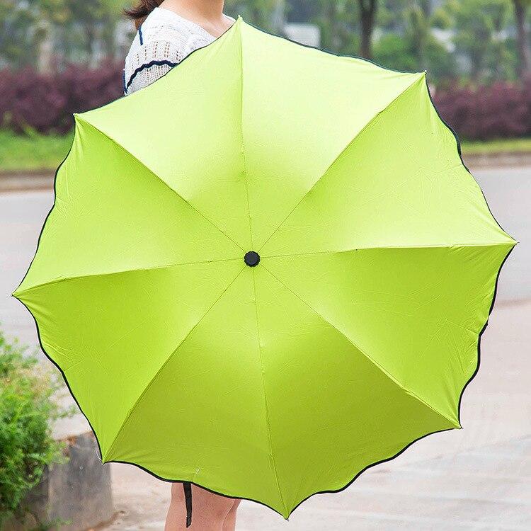 Creative flowering water umbrella UV sunscreen umbrellas Windproof Three Folding Compact Rain Travel Umbrellas fashion