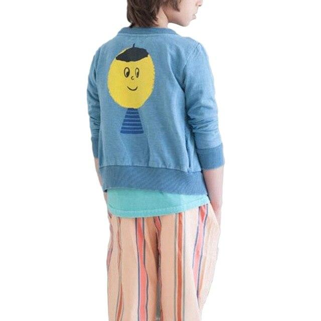 2017 Хлопок Ребенок Вс Улыбка Печати Sweatershirts Девочки Мальчики Дети С Длинным Рукавом Блузки Топы Рубашка Пуловер Пиджаки 1-5 лет W1