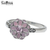 SUAYMAKแท้สีชมพูเคลือบดอกไม้เดซี่925แหวน