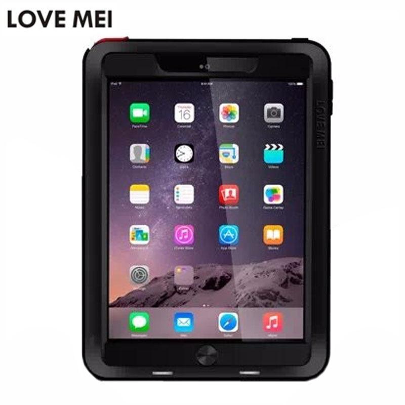 Amour Mei Puissant Boîtier Métallique pour iPad 6/iPad Air 2 En Aluminium + TPU Antichoc Armure de Couverture de Cas pour iPad 6 A1566 A1567 Fundas Cas