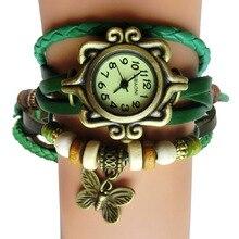 Бабочки синтетический relogio feminino античная ремешок кулон кожаный наручные старинные браслет