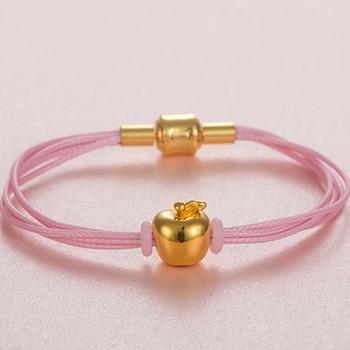 Authentic 24K Yellow Gold Apple Pendant Bracelet Children Gift