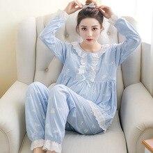 Pengpious послеродовой пижамный комплект, модный кружевной воротник с принтом бабочки, хлопковый комплект одежды для кормления грудью, одежда для сна