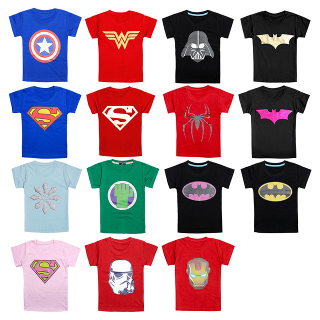 374696166 Wholesale kids clothes boys girls unisex t shirt multicolor superhero  costume t-shirts 100%