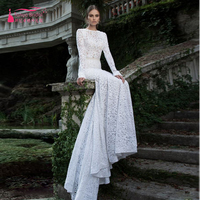 Robe de mariage gelinlik 2016 Long sleeve Luxury Lace wedding dress sexy Backless Charming winter Bridal Gowns Z301
