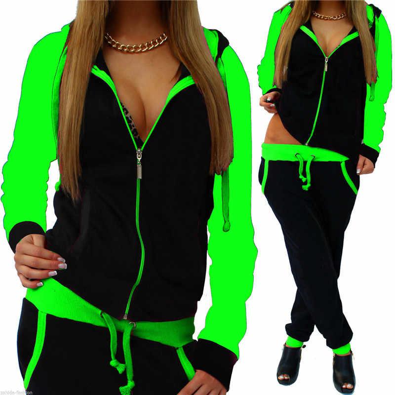 2 piezas conjunto de chándal de las mujeres casuales de deporte con cremallera con capucha sudadera Tops pantalones trajes de pantalones Plus tamaño Streetwear B223