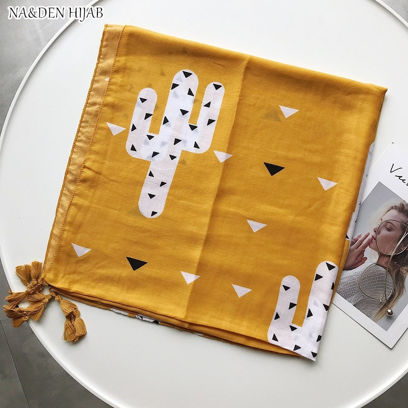 NEW geometric print hijab scarf mustard yellow color taasel fashion women scarves shawls brand soft muffler