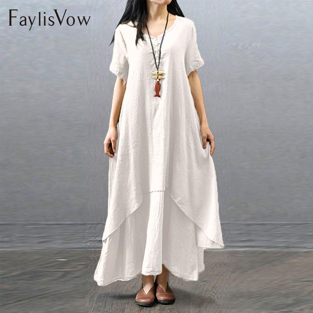 4XL 5XL Weiß Sommer Kleid Boho Kurzarm Unregelmäßigen Lagertes baumwolle Leinen Kleider Große Größe Retro V-ausschnitt Lose Kleid Maxi