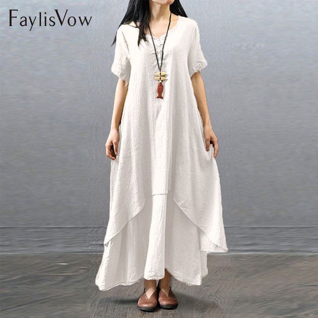 45a3b08134 4XL 5XL White Summer Dress Boho Short Sleeve Irregular Layered Cotton Linen  Dresses Big Size Retro
