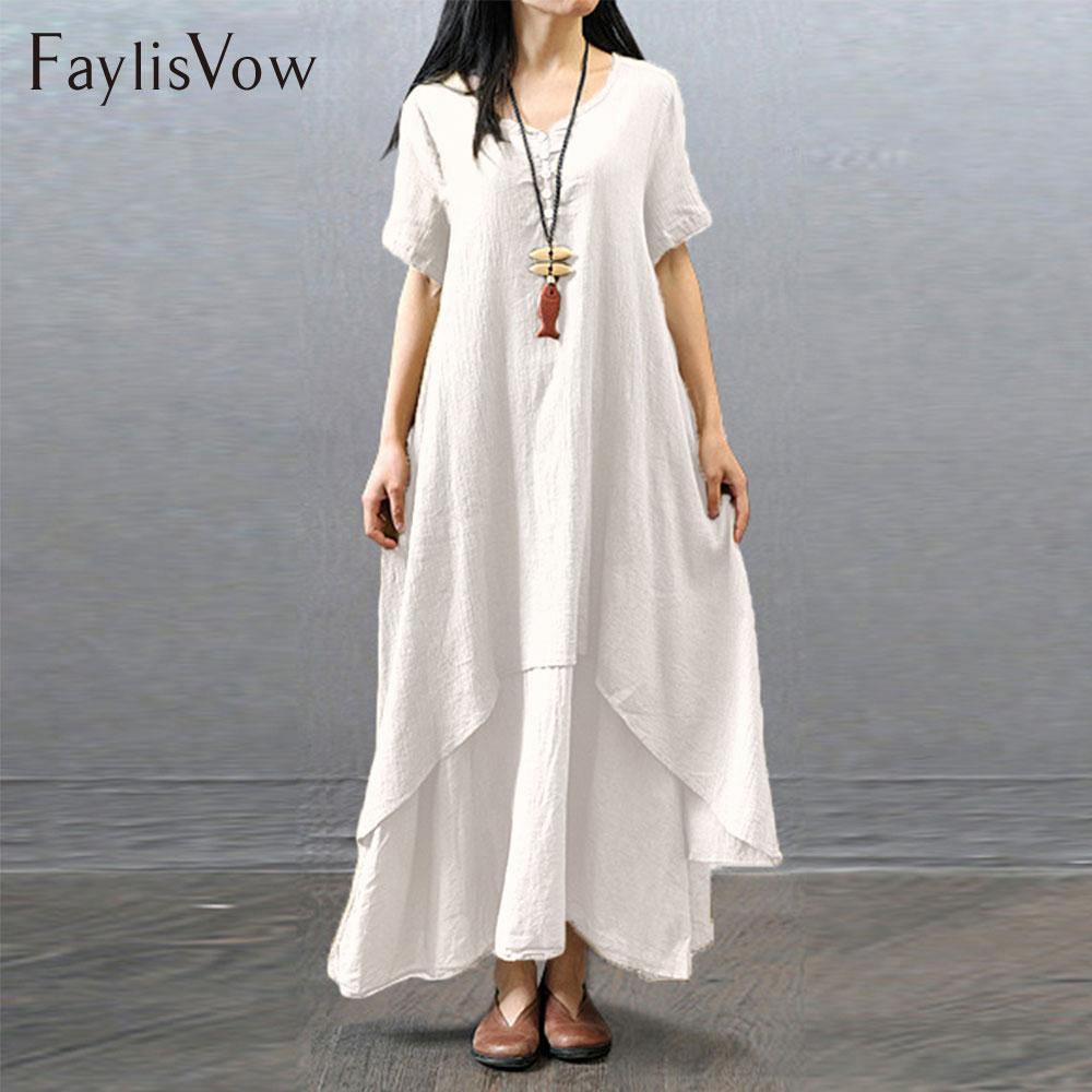 4XL 5XL Bianco Summer Dress Boho Manica Corta Irregolare Layered cotone Lino Abiti Big Size Retro Scollo A V Vestito Allentato Maxi