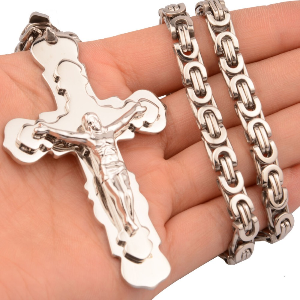 New Fashion 316 Stainless Steel Man's High Quality Silver Cross Pendant Necklace with 6mm 18-30 Inch Byzantine Link Chain