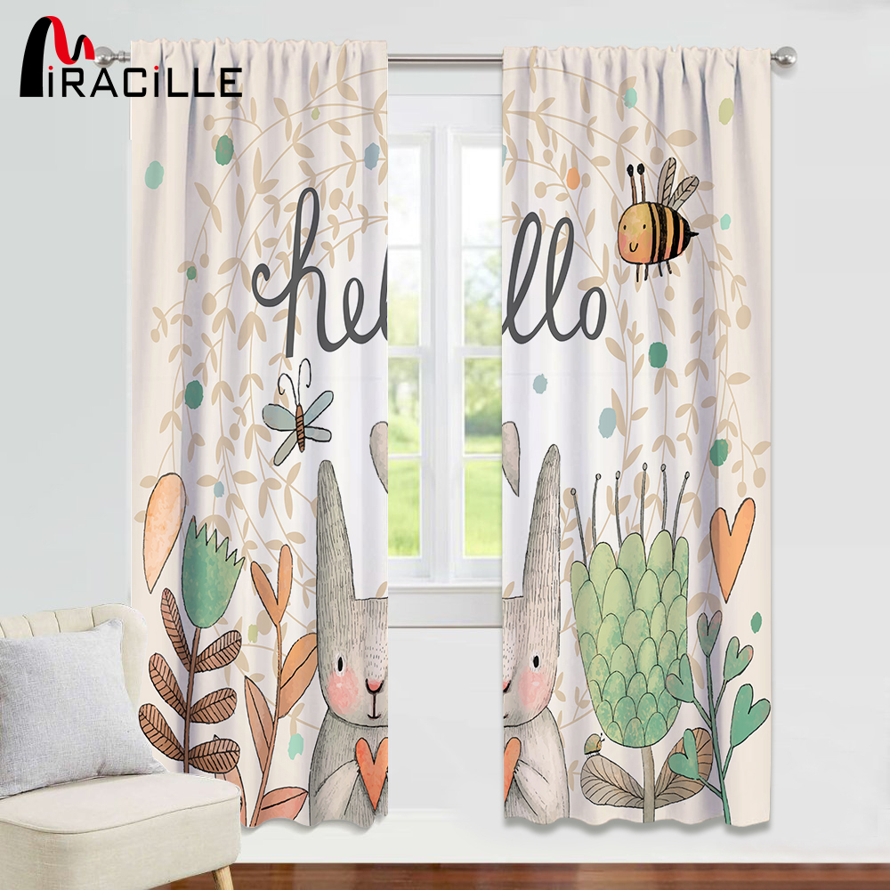 Miracille Rabbit Curtains For Living Room Decorative Cartoon Print Kids Bedroom Curtain Home Window Treatments 60-70% Shading