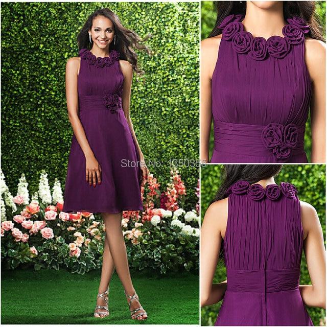 vestidos de novia Custom Made Purple Bridesmaid Dress Knee length Handmade  Flowers Empire Waist Scoop Short Maid of Honor Dress 2750096c0b2b