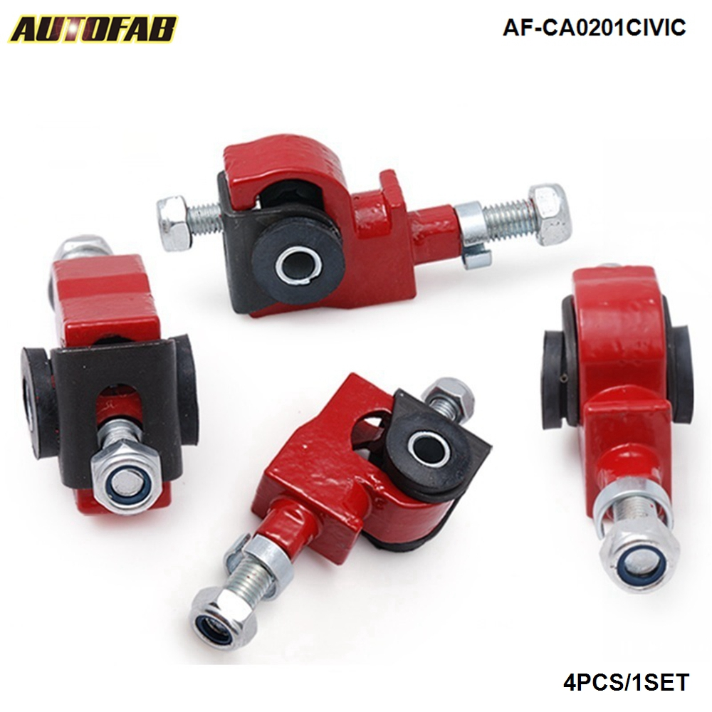 ADJUSTABLE POLISHED STEEL FRONT CAMBER KITS 94-01 INTEGRA DC2 92-95 CIVIC EG RED