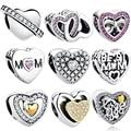 925 Sterling Silver Interlocking Love CZ Pendant Double Heart Charm Beads Fit Pandora Bracelet Necklace Wedding Gift Jewelry