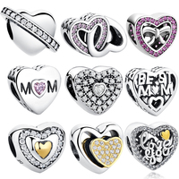Silver Plated Love Heart Soulmate Charm Beads Fit Bracelet Bangles Wedding Gift Jewelry