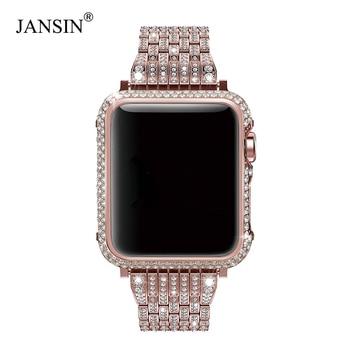 Роскошный бриллиант + ремешок из нержавеющей стали для Apple Watch Series 4 3 2 1 покрытие для ремешков iWatch 38 мм 42 мм 40 мм 44 мм браслет женский