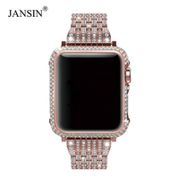Luxury Diamond Case+Stainless Steel strap For Apple Watch Series 4 3 2 1 bands cover iWatch 38mm 42mm 40mm 44mm bracelet women