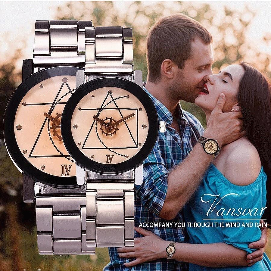 Vansvar Vintage Steel Quartz Lovers Watch Women Hot Sale Gear Style Men Watches Ladies Casual Wristwatch Relogio Feminino Clock