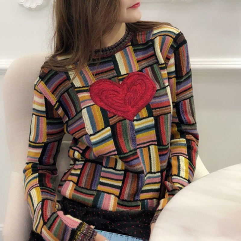Kadın Giyim'ten Kazaklar'de Vintage Hit Renk Ekose Kazak Moda 2018 Kadın Aşk Kalp Nakış Jakarlı Örgü Kazak Kontrast Renk çizgili kazak'da  Grup 3
