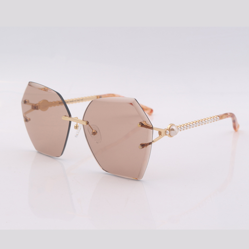 High quality sixangle frame brown lens women sunglasses fashion sunglasses women with plastic pearls