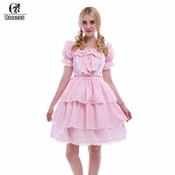 ROLECOS-Pink-Princess-Sweet-Lolita-Dress-Lace-Short-Sleeve-Women-Summer-Lolita-Dress-Cosplay-Robe-Victorienne