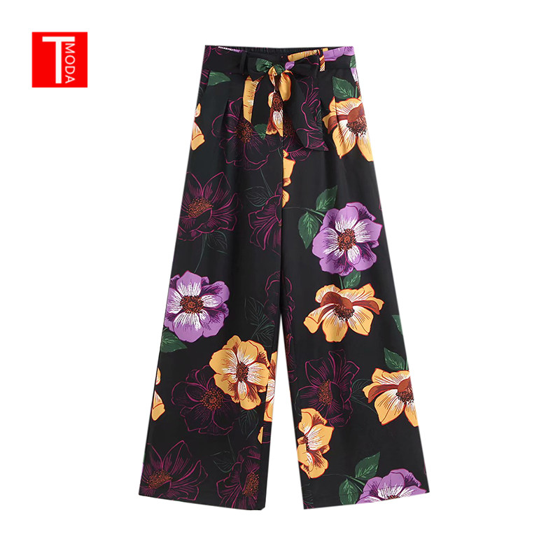 Floral Print Boho   Wide     Leg     Pants   Women 2019 Summer Spring Retro High Waist Loose   Pant   Ladies Bohemian Casual Maxi Long   Pants