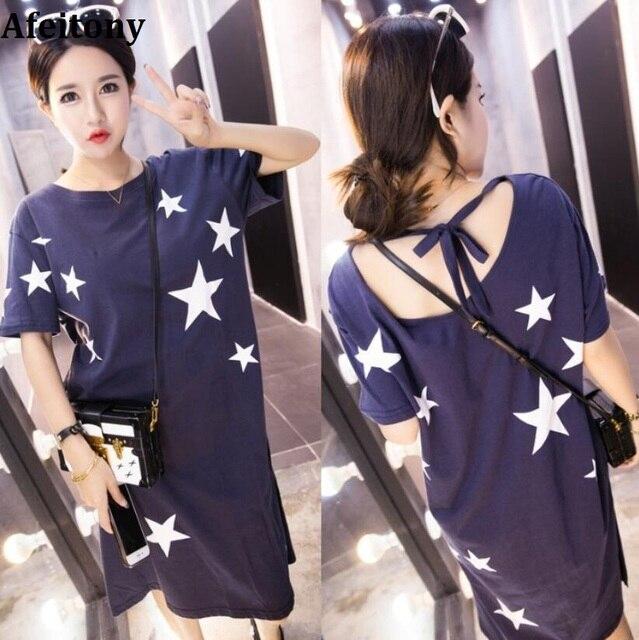 35524de16a084 Maternity clothes summer maternity print star dresses cotton plus large  size Pregnancy dress for Pregnant Dress Women