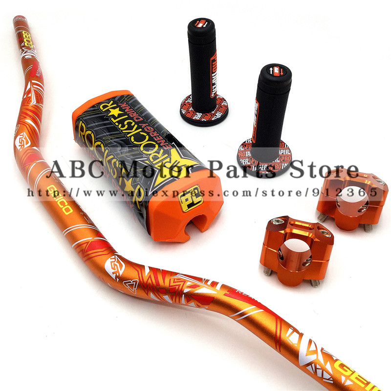 1 1/8 Fat Bar 28 MM Guidon + Poignées + Bar Pinces + Bar Pad Moto MX Motocross Pit Dirt Bike Fit pour KTM EXC CRF YZF250 KLX RMZ