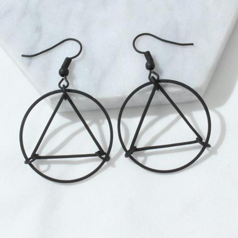 European And American Foreign Trade Minimalist Hollow Triangle Earrings, Circle Geometric Modeling Wild Earrings Female Jewelry