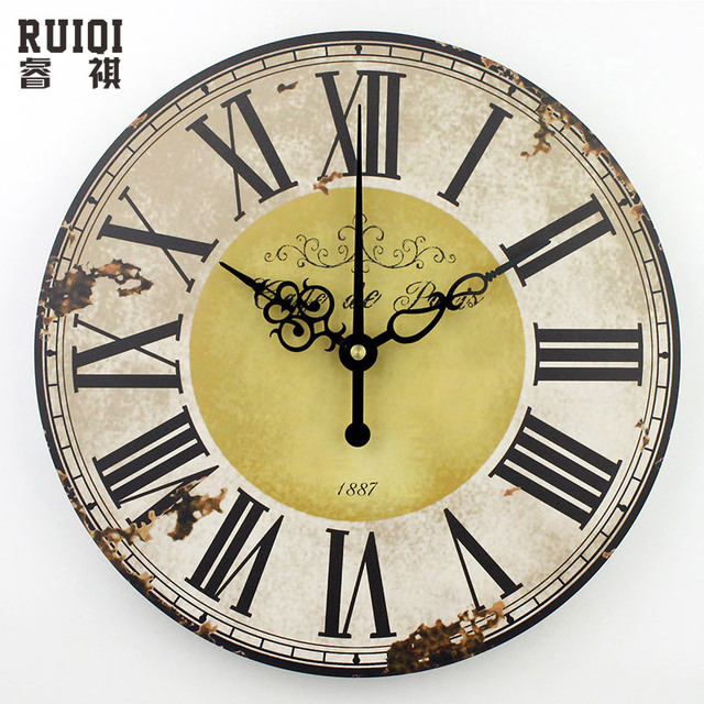 home decoration roman numeral wall clock silent living room wall ...