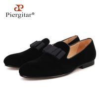 Piergitar 2019 new style Handmade Men velvet shoes Banquets and Prom men Bowtie Loafers plus size men's dress shoes