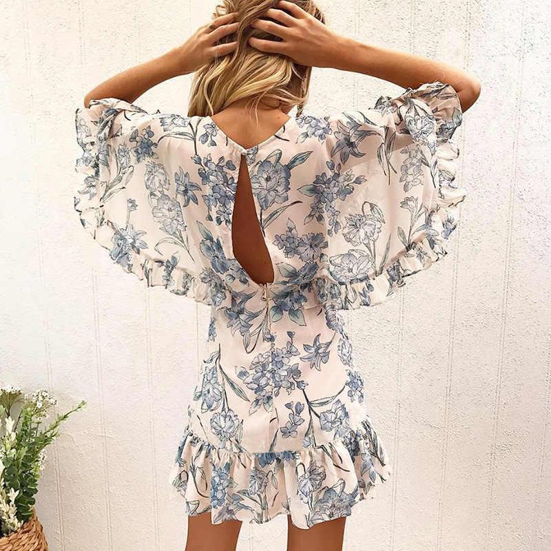 """Цветочный принт оборками модные платья Для женщин рукав """"летучая мышь"""" Sexy V шеи Повседневное мини-платье леди Femal Vestidos Открытое платье"""