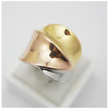 Rose Gold Silver Gold Plated 3 Colors Cocktail Stainless Steel Band Ring Women Fashion Jewelry Size 9 6 8 7